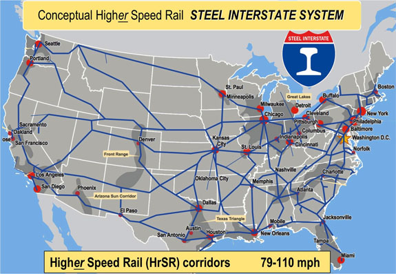 Passenger Train Routes Us Map Passenger Services on the Steel Interstate System | Steel