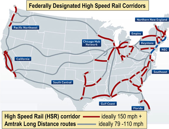 Federally designated high speed rail corridors