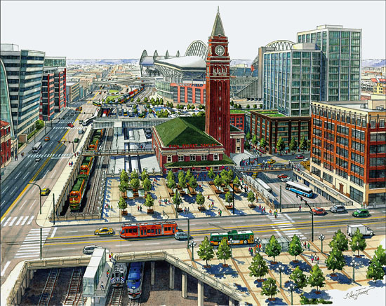 Downtown transportation center rendering.